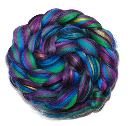 HARLEQUIN - Merino and Mulberry Silk Blend Combed Top Wool Roving for (Wool Combed Top)