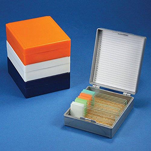 (Globe Scientific 513075A ABS Plastic Cork Lined Slide Storage Box for 25 Slides, Gray)
