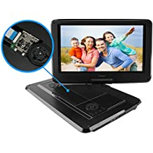 """Portable DVD Player, SYNAGY 14"""" Personal DVD Player for Car with Swivel Screen, Rechargeable Battery, SD Card Slot and USB Port"""