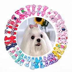 Pet N Pet Dog Hair Clips Hair Bows 36 Pcs Plus 2 Pcs Diamond Bling Bling Clips Pet Grooming Products Cat Puppy Hair Accessories Random Color