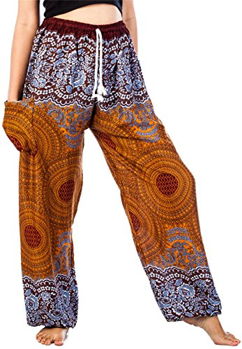 Lofbaz Women's Drawstring Rose 1 Harem Boho Genie Pants Brown L (Belly Dance Harem Pants For Women)