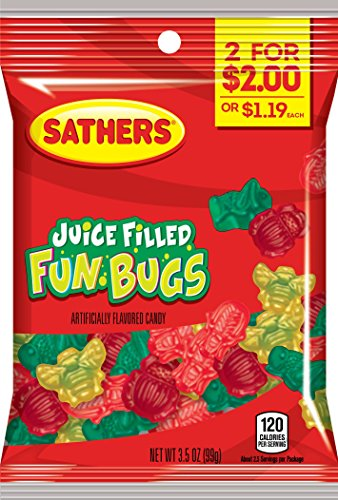 Sathers Juice Filled Fun Bugs Gummy Candy, Assorted Fruit, 3.5 Ounce (Pack of 12) -