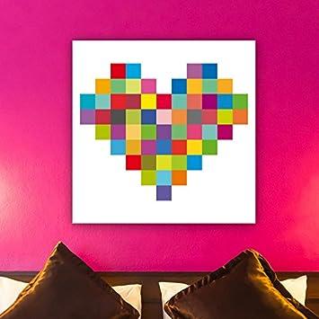Oh Mein Bild Coeur Pixel Art Bild Holz Mehrfarbig 30 X