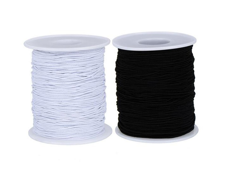 2Roll (Black and White) 0.7mm 60Meters Elastic Cord Stretch Thread Beading Cord Fabric Crafting Thread White Elastic String for Jewelry Making Bracelet Beading Thread erioctry 4336810785