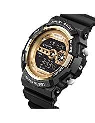 Waterproof Watch W-life Stainless Steel LED Digital Sports Army Quartz Mens Watches Gold