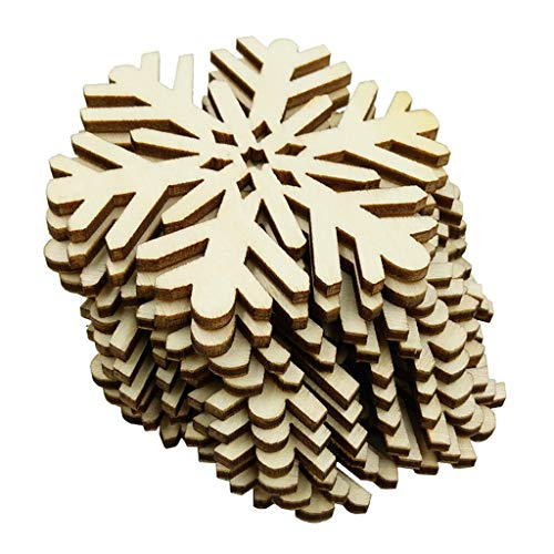 10x Snowflake Wood Embellishments Christmas Rustic Tree Hanging Ornament 6cm