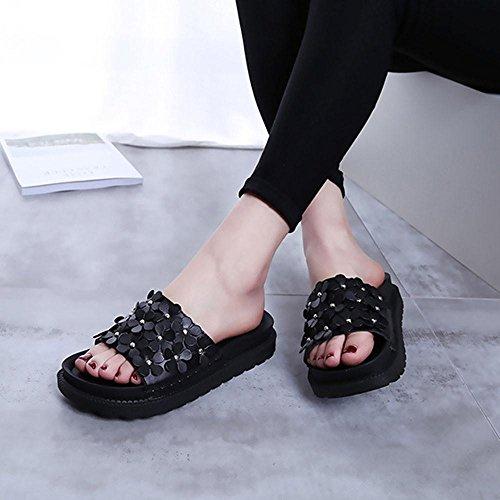 Baomabao Femmes Plage Chaussures Sandales Plates Slip Fleur Été Pantoufles Résistantes Noir
