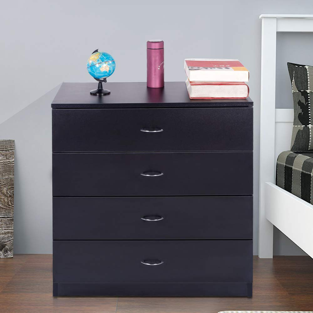 Zipperl 4 Drawers Dresser, Black Wood Chest Cabinet for Closet to Storing Clothes,Cosmetic and All Kind Accessories