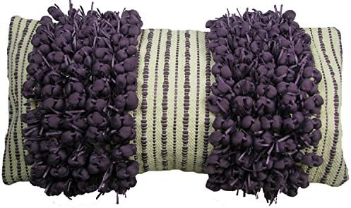 Design Accents Funberry 14-Inch by 28-Inch 2-Tone Stripe Hand Woven Toss Pillow, Ivory Grape, Twin