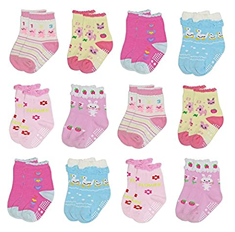 Deluxe Anti Non Skid Slip Animal Crew Socks With Grips For Baby Toddler Girls (12-24 months, 12-pairs/assorted)