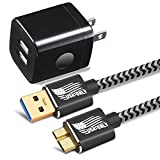 Galaxy S5 /Note 3 Charger, BEST4ONE 6ft Nylon Braided Charging Cable with 2.1A/5V Dual Port Fast Wall Charger Plug for Samsung Galaxy S5 and Note 3 (2in1) Black