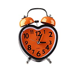 Contrast Candy Color Twin Bell Alarm Clock Heart Shape Orange 3