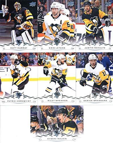 (2018-19 Upper Deck Series 1 and 2 Hockey Complete Pittsburgh Penguins Team Set of 14 Cards: Derick Brassard(#139), Riley Sheahan(#140), Evgeni Malkin(#141), Patric Hornqvist(#142), Justin Schultz(#143), Kris Letang(#144), Matt Murray(#145), Dominik Simon(#391), Sidney Crosby(#392), Jack Johnson(#393), Jake Guentzel(#394), Olli Maatta(#395), Phil Kessel(#396), Brian Dumoulin(#397))
