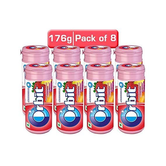 Orbit Mixed Fruit Flavour Sugar Free Chewing Gum - 22g Tube (Pack of 8)