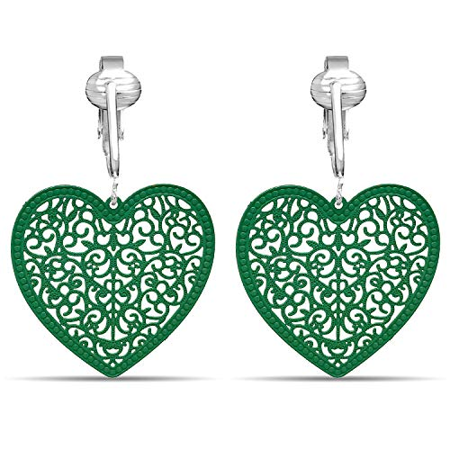(Lovely Victorian Filigree Clip On Earrings for Women Clip-ons, Lightweight Teardrop Leaf Dangle (Green Heart))