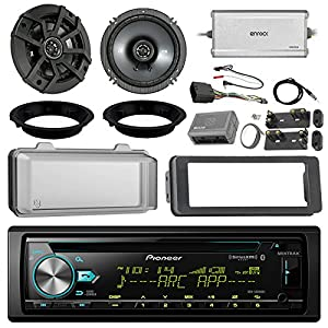 "Pioneer DEH-S6000BS CD Receiver Bundle/2 Kicker 6.5"" Speaker + Motorcycle Speaker Adapters + Amplifier + Dash Kit W/Radio Cover + Handle Bar Conrol for 98-2013 Harley Davidson + Enrock Antenna"