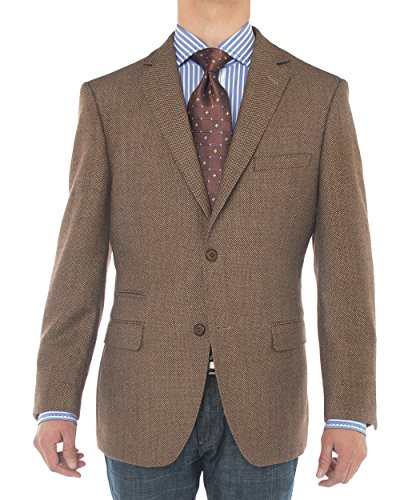 Luciano Natazzi Mens 2 Button 160'S Wool Blazer Working Button Holes Suit Jacket (42 Long US / 52 Long EU, Brown) (Breasted Worsted Single Wool Suit)