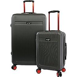 ORIGINAL PENGUIN Men's 2 Piece Hardside 8 Wheel Spinner Expandable Luggage Set, Charcoal