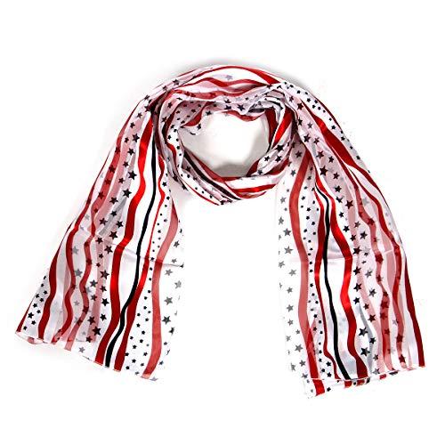 Print light weight Satin Scarves for women, silk feel wrap, American flag, Heart, Music note ()