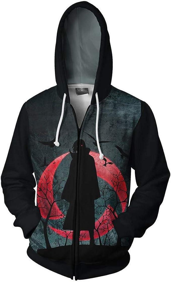 RJHWY Unisex 3D Sudaderas con Capucha Jersey Ropa Abrigo Chaqueta con Capucha Sudadera Cremallera Naruto
