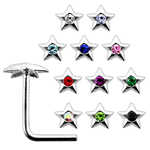 20 Pieces Box Set of Jeweled Pentagon Star Top Sterling Silver L Bend Nose Stud Jewelry ()