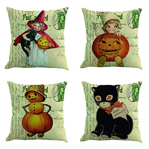 Ussuperstar Set of 4 Happy Halloween Pumpkin Throw Pillow Covers Boho Hippy Cushion Cover Throw Floral Fall Pillow Case 18 X 18 Inch Pillowcase Multicolor -
