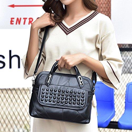 Transporte mujeres para las Bandolera bolsas de casual negro de negro negro la asa señora superior Bolso PU7Xvw