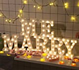 LUCKY CLOVER-A LED Letters Lights Alphabet Marquee Decoration Light Up Sign Battery Operated For Party Wedding Receptions Holiday Home Bath Bridal Bar Decor,Marry Me