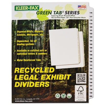 Free Kleer-Fax Letter-Size Index Dividers, Collated Numbered Sets, Side Tab, 1/25th Cut, 1 Set per Pack, White, 176-200