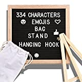 Changeable Letter Board 10x10 Inches Message Boards 300 White Letters and Symbols Wall Mount Black Felt Letter Board Sign with Wooden Oak Frame 1 Storage Bag