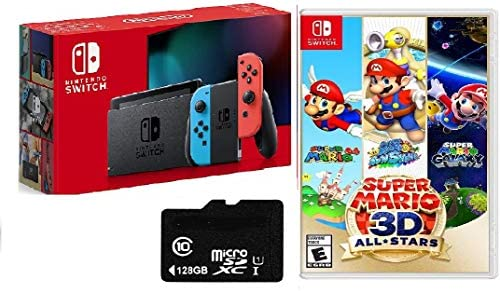 "Newest Nintendo Switch 32GB Console with Red-Blue Joy-Con, 6.2"" Touchscreen 1280x720 LCD Display, 802.11AC WiFi, Bluetooth 4.1, HDMI, Bundled with Super Mario 3-d All-Stars & 128GB Micro SD Card"