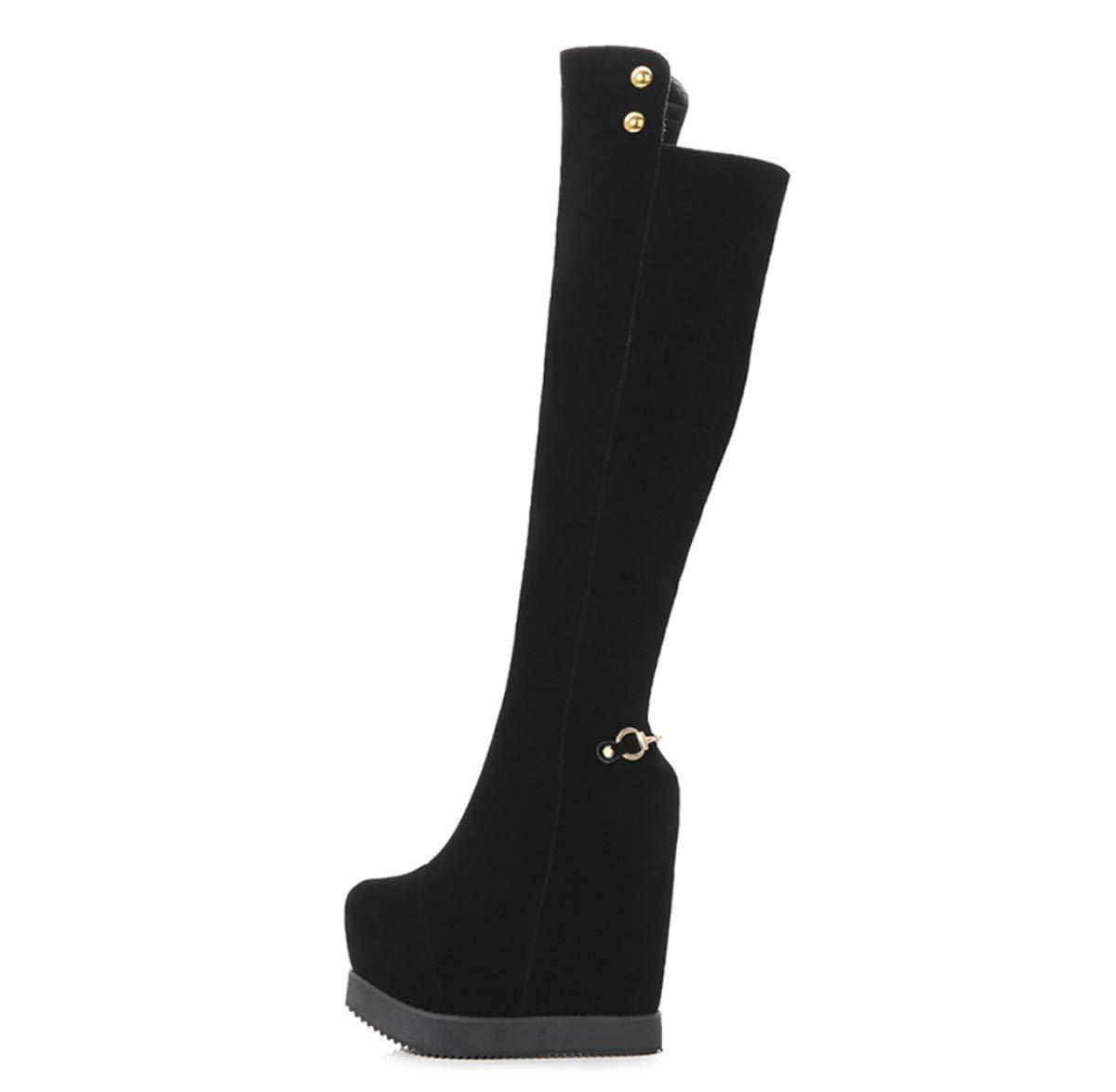 DANDANJIE Damen Stiefel Kniestiefel mit Keilabsatz Rutschfeste hohe Stiefel warme Outdoor Hidden Heels Stiefel für Herbst Winter