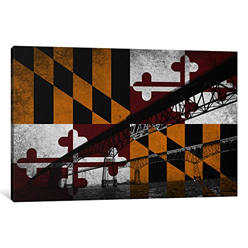 Chesapeake Bay Bridge (iCanvasART 1-Piece Maryland Flag Chesapeake Bay Bridge Ocean Grunge Canvas Print by Kane, 1.5 by 12 by 18-Inch)