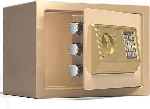 Caja Fuerte Empotrable Caja de seguridad dorada con botón pulsador, Caja fuerte portátil impermeable para gabinetes pequeños para botellas de píldoras Moneda de juguete para niños, Altura de 20 cm / 3: