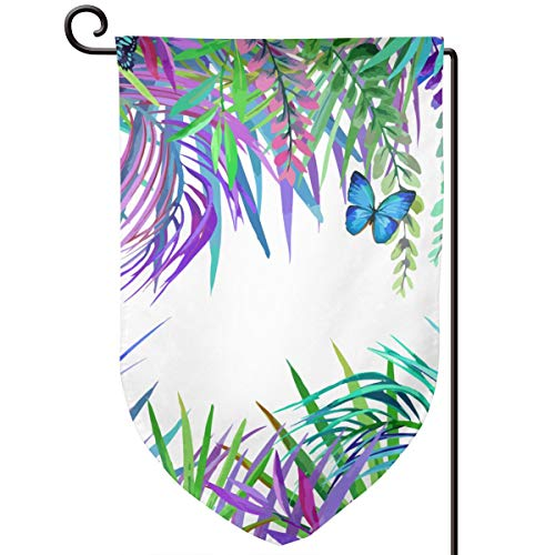 VASYLLAPTIEV Garden Flags Tropical Leaf Flower and Butterfly Home Flags Double-Sided Printed Double Layer Outdoor- Fillet, Sharp Corner, Square ()