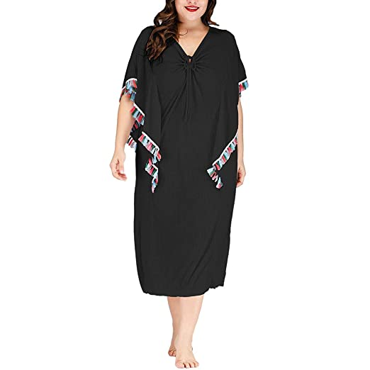 ANJUNIE Women Plus Size Loose V-Neck Dress Irregularity Sleeve ...