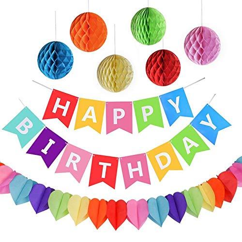 AmeiTech 생일 장식 세트 특대6개의 페이퍼 플라워 honeycomb 볼 HAPPY BIRTHDAY갈런드 생일 데코레이션 축하에 테이프 부착