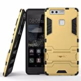 Heartly Huawei Ascend P9 Back Cover Graphic Kickstand Hard Dual Rugged Armor Hybrid Bumper Case - Mobile Gold
