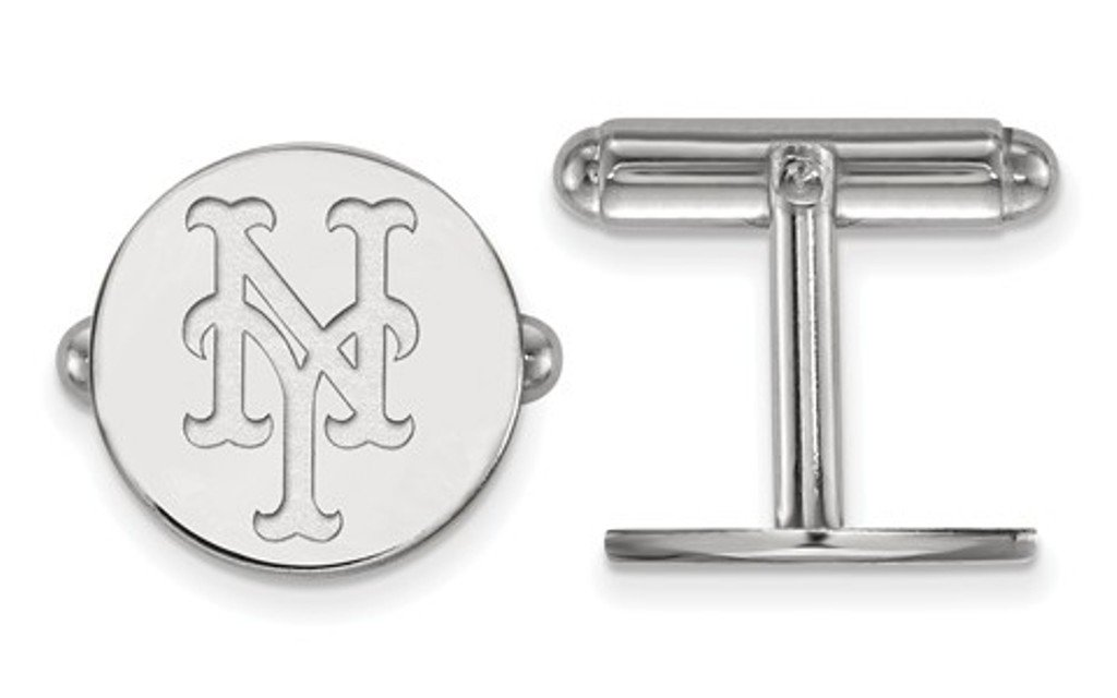 Rhodium-Plated Sterling Silver New York Mets Cuff Links, 15MM
