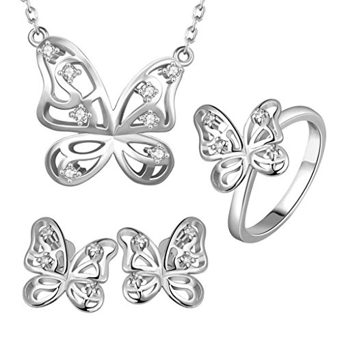 Womens Jewelry Sets Hollow Butterfly CZ White Platinum ()