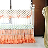 Coral & Gold Dots Ruffle Baby Bedding 2 Pc Set