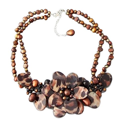 AeraVida Triple Flower Reconstructed Agate-MOP-Cultured FW Pearl .925 Silver Hook Necklace ()