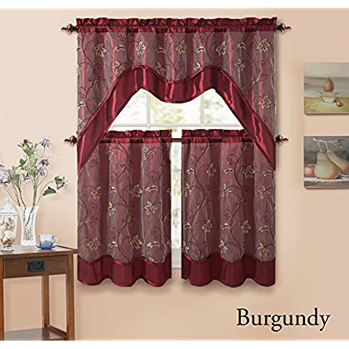 3 Piecen Double Layer Leaf Embroidered Kitchen Window Curtain Set With Valance Burgundy