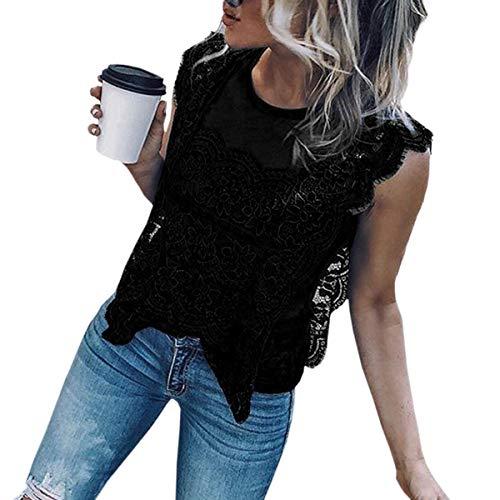 rond vider col Femme maille Femmes Gilet dentelle chemises manches top sans Black Huyizhi chemisier patchwork wY80w