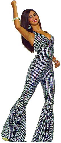 Forum Novelties Women's 70's Disco Boogie Dancing Babe Jumpsuit, Silver/Black, -