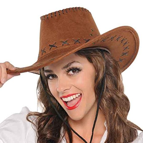 High Riding Costume Party Cowboy Suede Hat, Brown, Fabric, 13