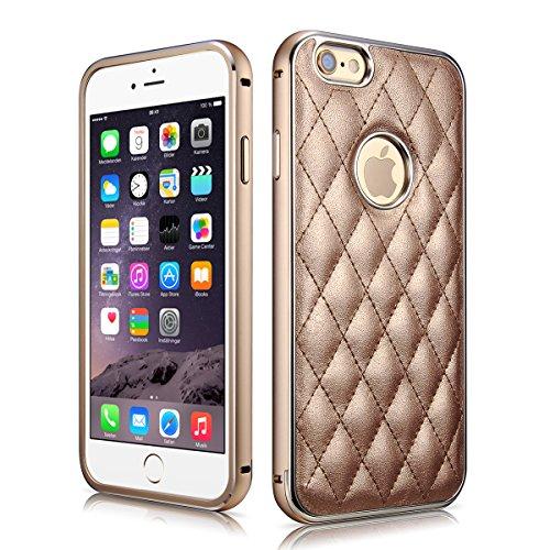 iPhone 6 Plus Case, [2 in 1 Series] iPhone 6 Plus Leather Case Back Cover, Premium Aluminium Metal Bumper Frame Case Ultra Slim Soft Skin Cover Case Perfect Fit for Apple iPhone 6 Plus (5.5'' inch) (MM575) (Copper Gold)