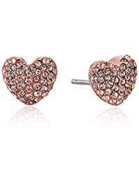Michael Kors Womens Pave Hearts Tone and Peach Crystal Heart Stud Earrings