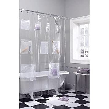 Mesh Pockets Clear Vinyl Shower Curtain, 70u0026quot; ...