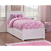 Twin Bed with Matching Footboard with Trundle in White